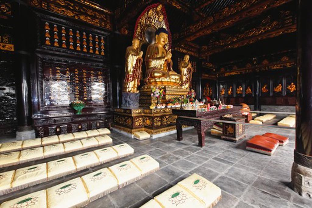 China, Shaanxi, Xian, Buddha statue in Big Wild Goose Pagoda : Stock Photo
