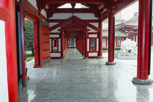 Stock Photo: 1774R-660 China, Shaanxi, Xian, Inner walkway in Big Wild Goose Pagoda