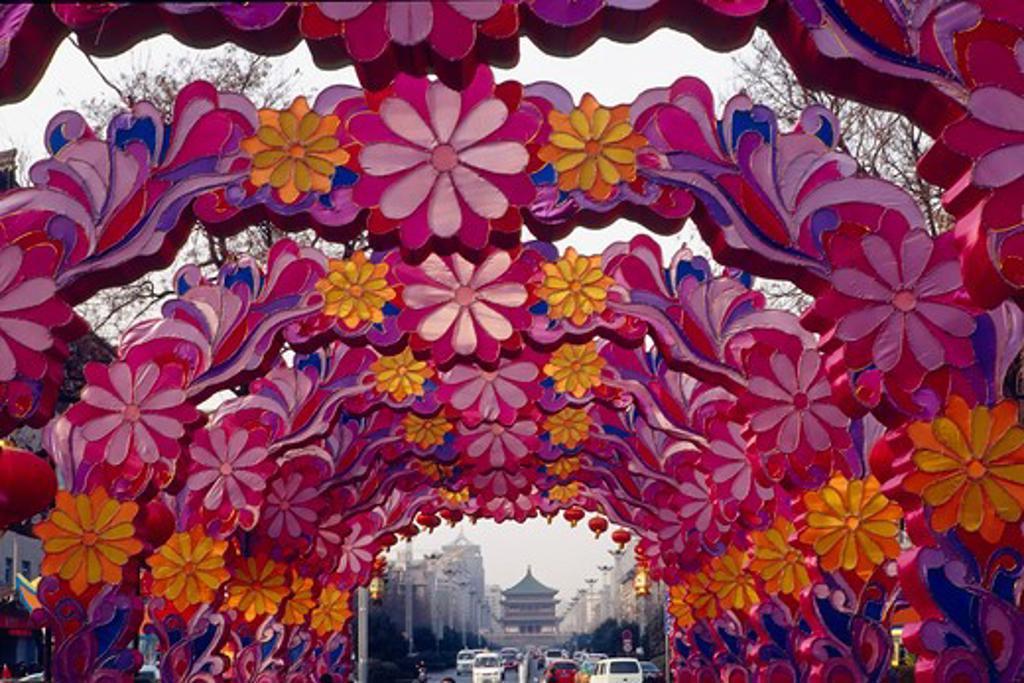China, Xian, Chinese New Year decoration : Stock Photo