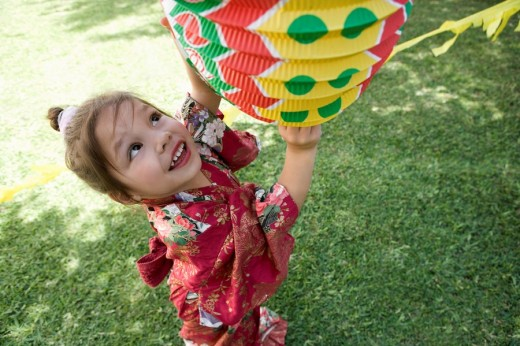 Stock Photo: 1775R-11369 Young girl in costume at birthday party