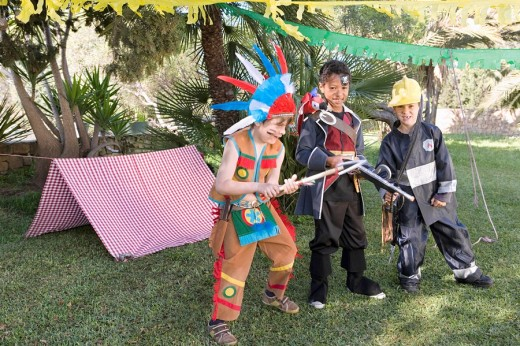 Stock Photo: 1775R-11400 Boys in indian, pirate and fireman costumes
