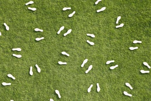Pairs of footprints : Stock Photo