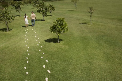 Couple walking through field trailing footprints : Stock Photo
