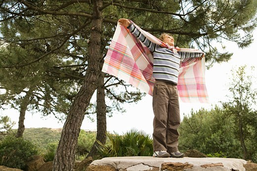 Boy standing on rock with arms outstretched : Stock Photo