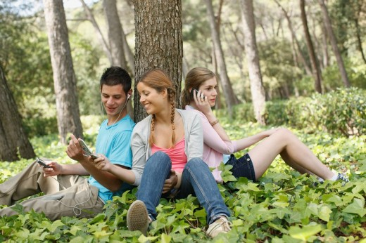 Friends using technology in forest : Stock Photo