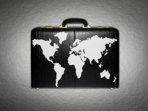 World map on briefcase : Stock Photo