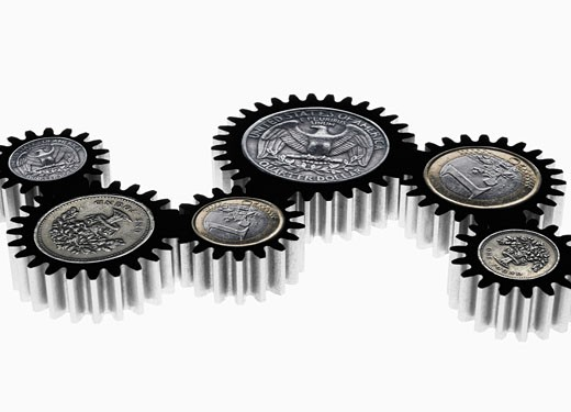 Stock Photo: 1775R-13567 Group of cogs with coin symbols