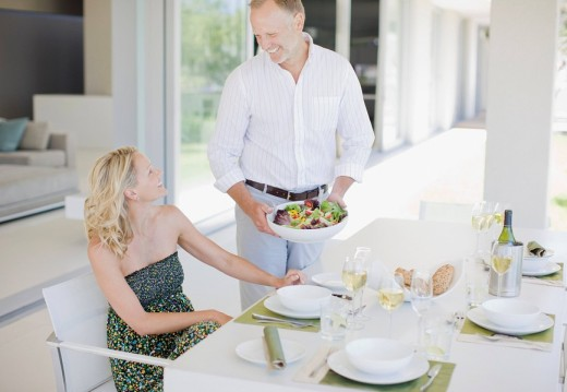 Couple enjoying elegant dinner : Stock Photo