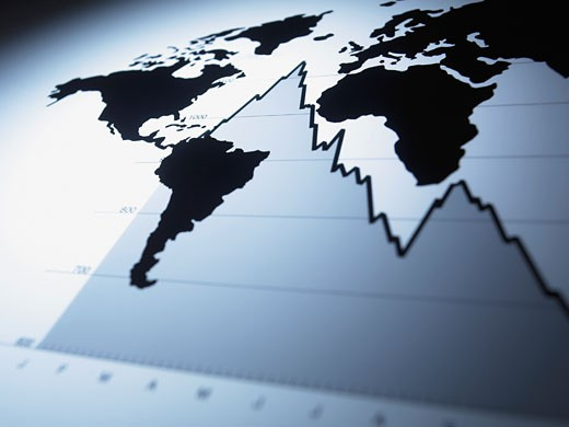 Stock Photo: 1775R-14843 World map on descending line graph