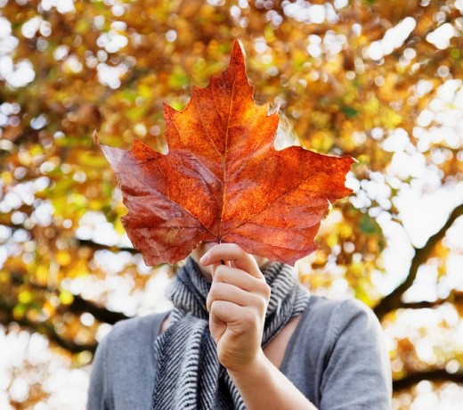Stock Photo: 1775R-14919 Girl holding autumn leaf in front of face