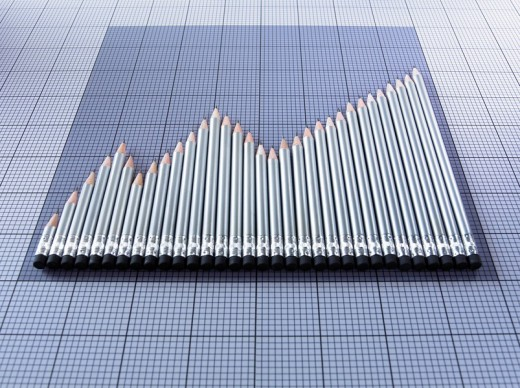 Pencils forming graph : Stock Photo