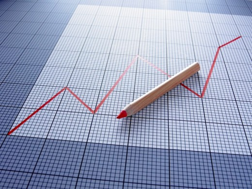 Stock Photo: 1775R-18412 Ascending graph and red pencil