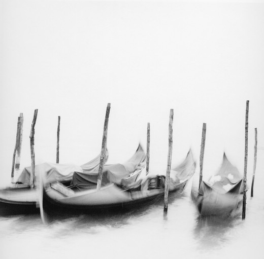 Stock Photo: 1775R-19005 Moored gondolas, Venice, Italy