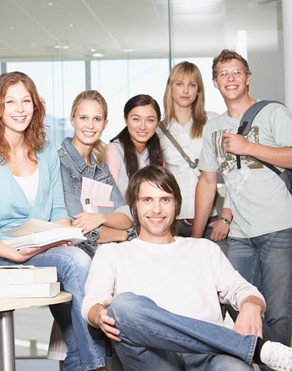 Group of high school students at school : Stock Photo