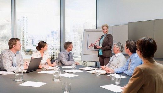 Stock Photo: 1775R-20670 Businesswoman leading meeting in conference room