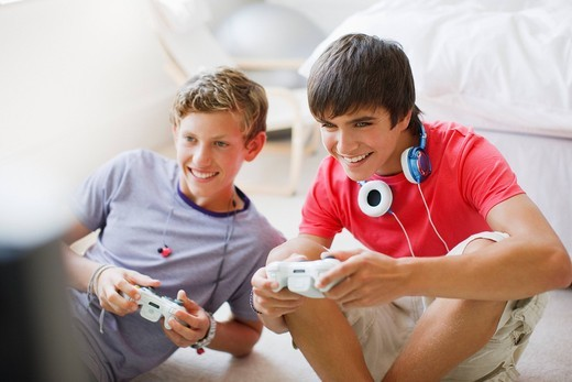 Smiling teenage boys playing video game : Stock Photo