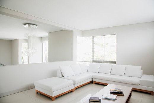 Stock Photo: 1775R-23373 White sofa and mirror in modern living room