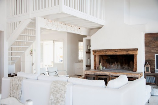 Stock Photo: 1775R-24859 Living room with fireplace