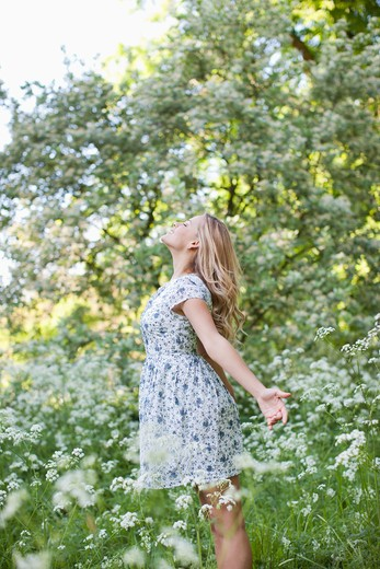 Stock Photo: 1775R-25566 Woman relaxing in field of flowers