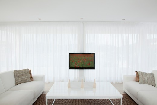 Stock Photo: 1775R-25675 Television in modern living room