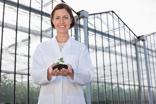 Scientist holding seedling outside greenhouse : Stock Photo