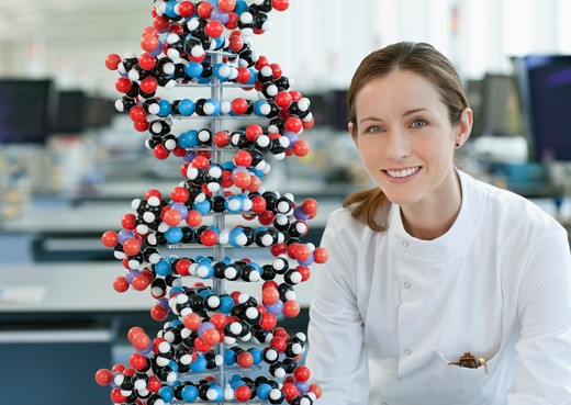 Scientist with molecular model in lab : Stock Photo