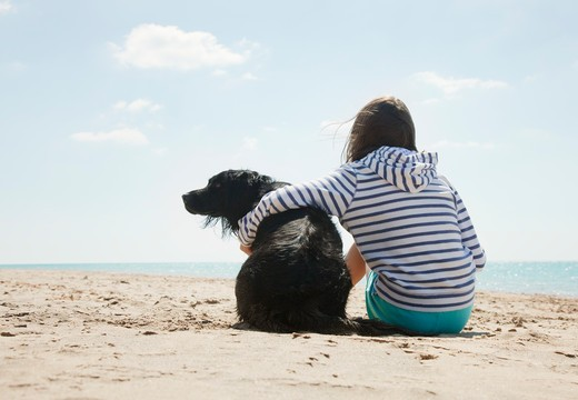 Girl sitting with dog on beach : Stock Photo