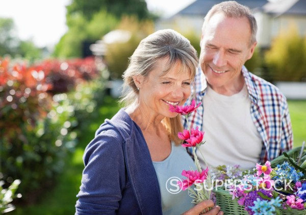 Stock Photo: 1775R-27807 Senior couple smelling flowers in garden