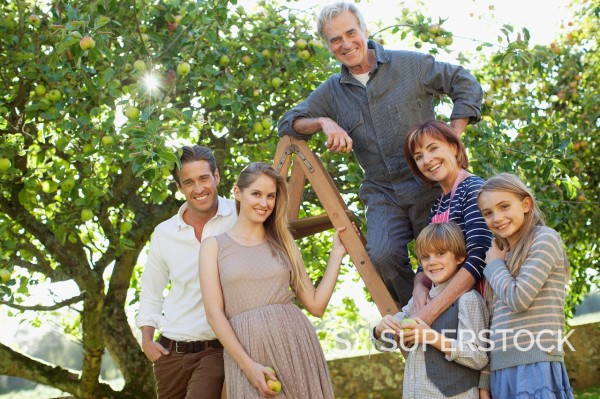 Portrait of smiling multi_generation family on ladder in orchard : Stock Photo