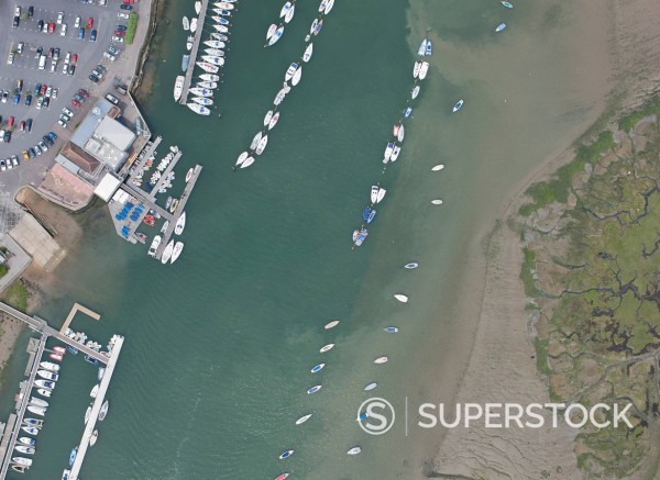 Stock Photo: 1775R-28017 Aerial view of boats docked in harbor
