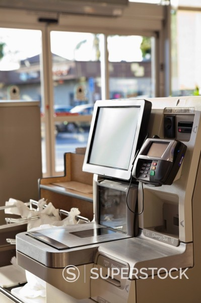 Self service checkout in supermarket : Stock Photo