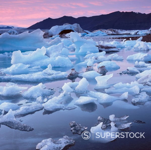 Stock Photo: 1775R-30143 Glaciers floating on arctic waters