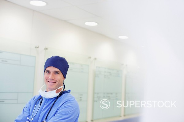 Stock Photo: 1775R-30168 Portrait of smiling surgeon in hospital