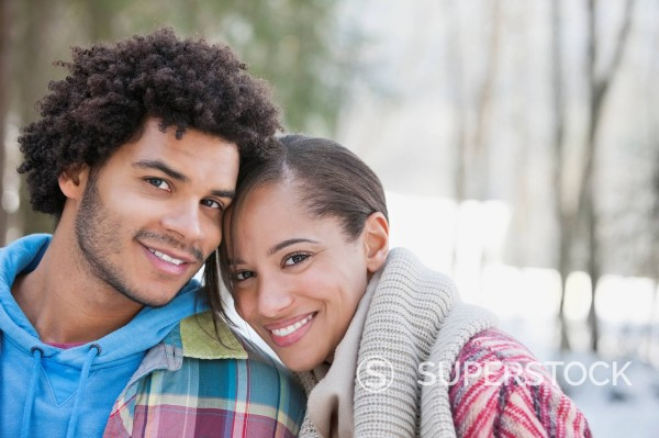 Close up portrait of couple outdoors : Stock Photo