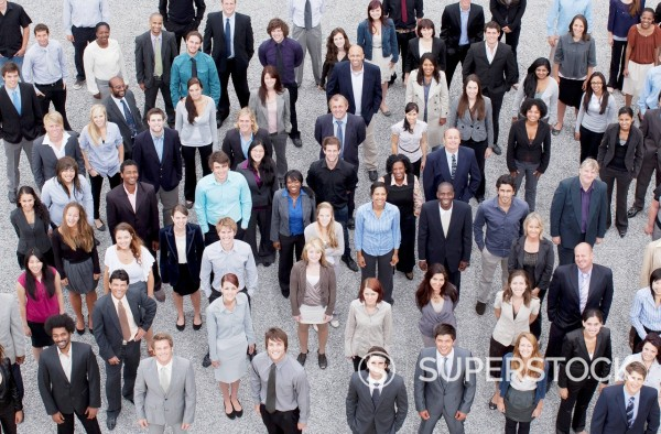 Portrait of business people in crowd : Stock Photo