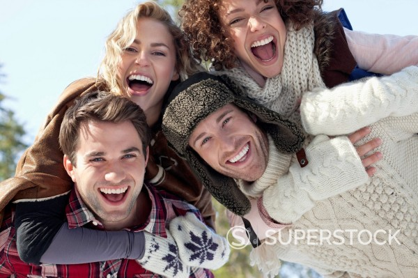 Stock Photo: 1775R-30653 Portrait of smiling couples piggybacking