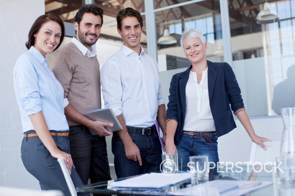 Stock Photo: 1775R-30656 Portrait of smiling business people in conference room