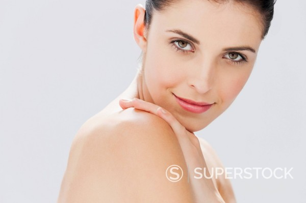 Stock Photo: 1775R-30670 Close up portrait of woman with bare chest