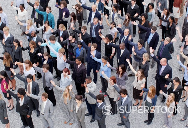 Crowd of waving business people : Stock Photo