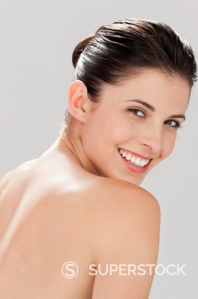 Stock Photo: 1775R-30908 Portrait of smiling woman with bare chest