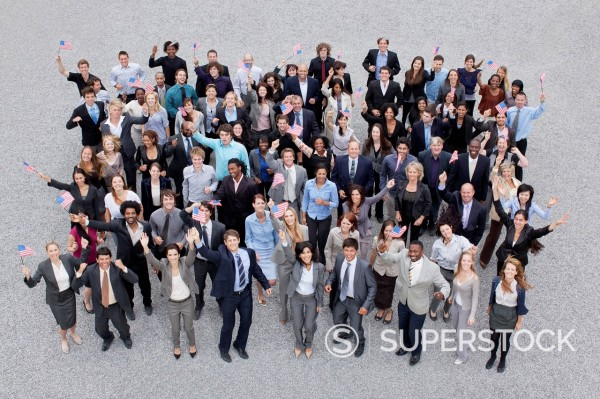 Stock Photo: 1775R-30990 Portrait of cheering crowd of business people