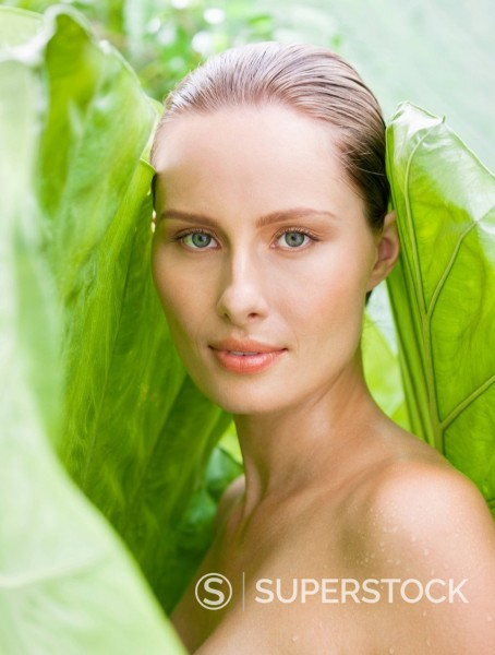 Close up portrait of woman in nature : Stock Photo