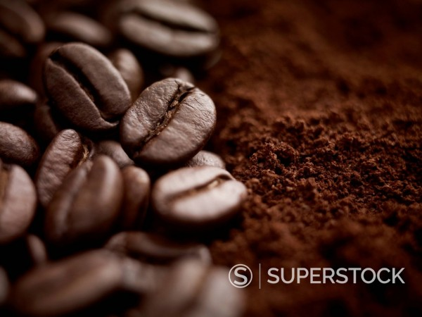 Stock Photo: 1775R-31212 Close up of whole coffee beans and ground coffee