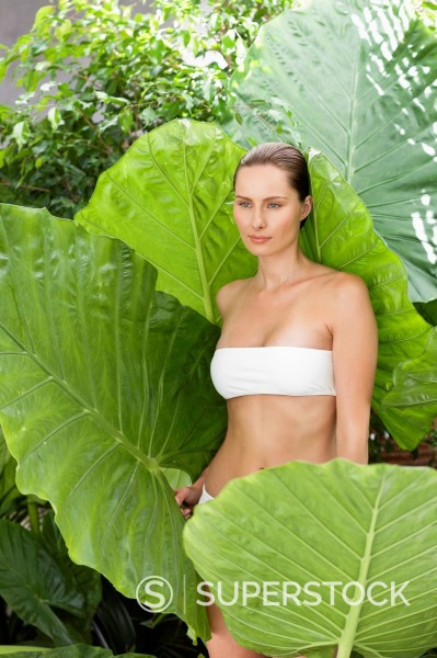 Serene woman in bikini surrounded by large plant leaves : Stock Photo