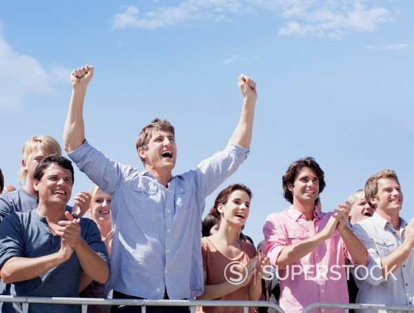 Cheering crowd : Stock Photo