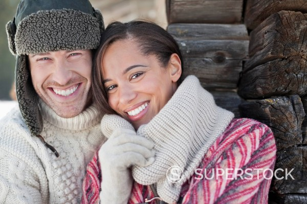 Close up portrait of smiling couple : Stock Photo