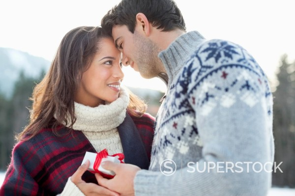 Stock Photo: 1775R-31457 Smiling couple face to face with Christmas gift