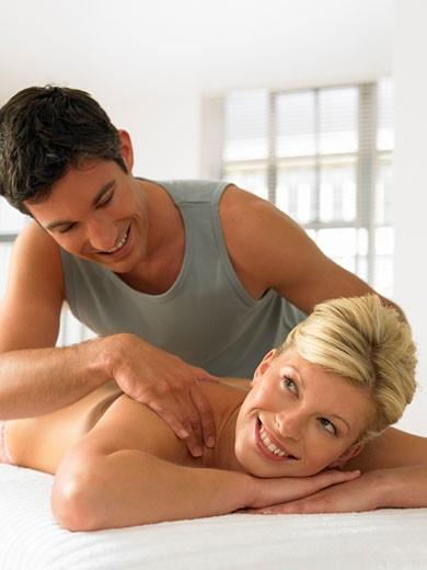A woman getting a massage : Stock Photo