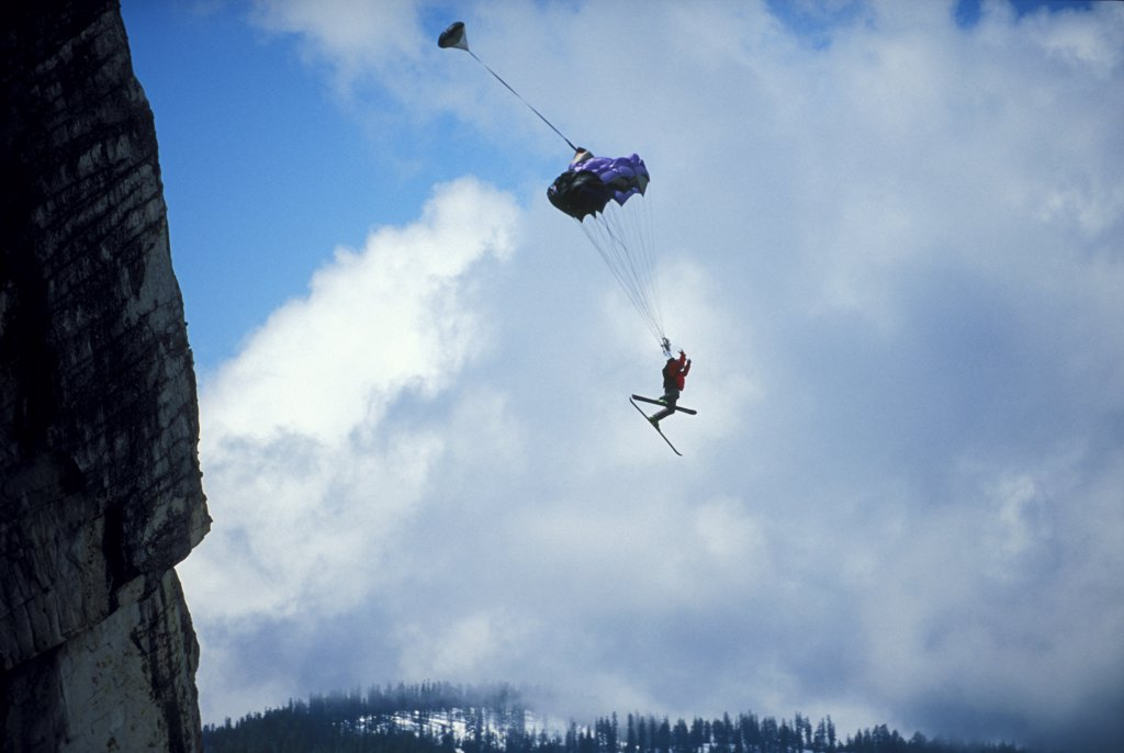 Ski-BASE jumper near Lake Tahoe : Stock Photo