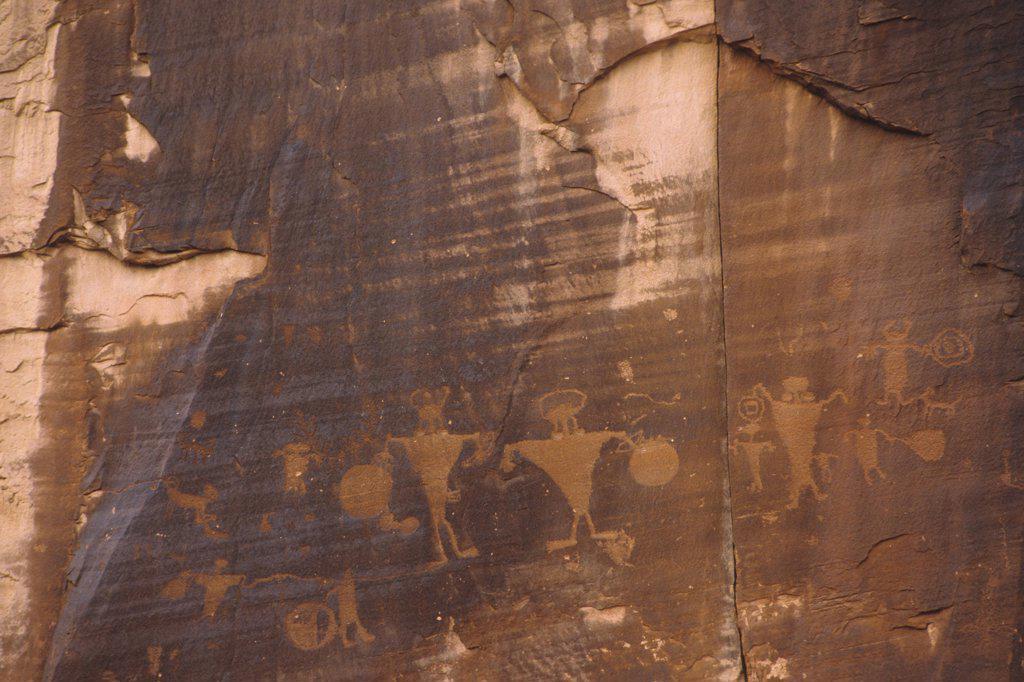 Stock Photo: 1778-11266 Petroglyphs at Potash Road, Moab, Utah, USA